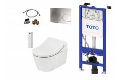TOTO WASHLET™ RX EWATER+ auto flush télecommande incluse et WC RP suspendu et TOTO Plaque de commande et Bâti support mural et Set d'extension