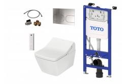 TOTO WASHLET™ SX EWATER+ auto flush télecommande incluse et WC SP suspendu et TOTO Plaque de commande et Bâti support mural et Set d'extension