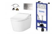 TOTO WASHLET™ RW  Auto Flush  pour la chasse d'eau automatique  et WC RP  suspendu et TOTO Plaque de commande et Bâti support mural  et Set d'extension